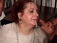 Chubby mature fucks in gangbang and gets facials